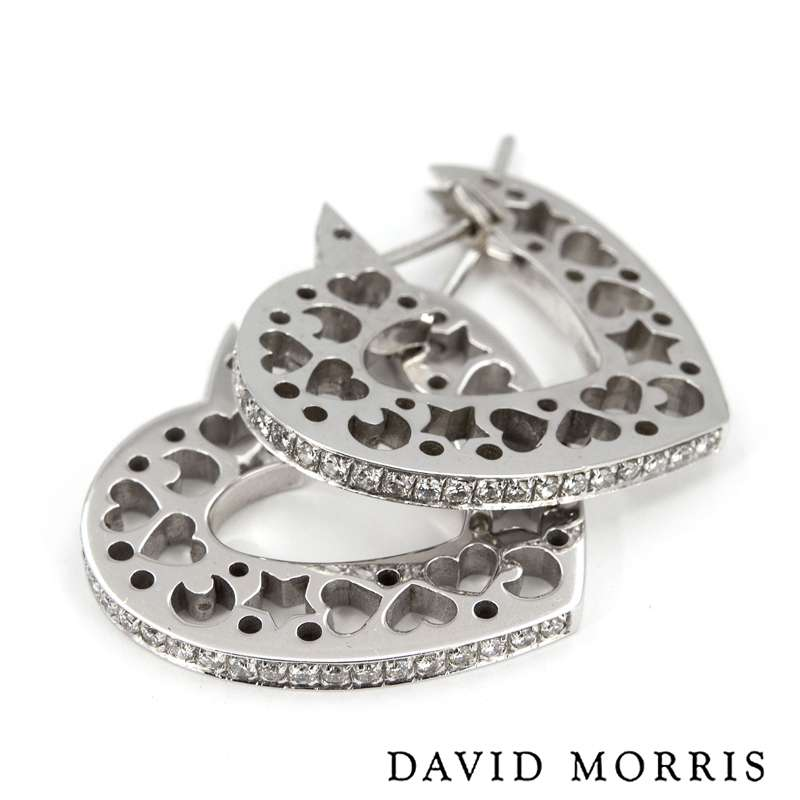 David Morris White Gold Diamond Heart Earrings